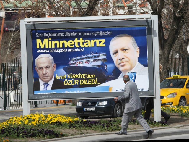"""A billboard on a main street by the Ankara municipality to thank Turkish Prime Minister Recep Tayyip Erdogan reads: """" We are grateful to you """" in Ankara, on March 25, 2013, three days after Israeli Prime Minister Benjamin Netanyahu apologized to Turkey over the death of nine Turkish citizens …"""