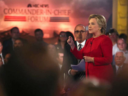 "Democratic presidential candidate Hillary Clinton speaks during a ""commander in chief forum"" hosted by NBC in New York on Wednesday, Sept. 7, 2016. (AP Photo/Andrew Harnik)"