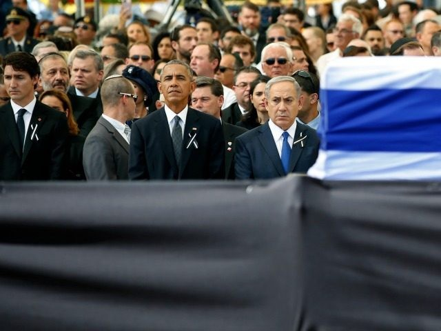 U.S. President Barack Obama and Israeli Prime Minister Benjamin Netanyahu look onduring the funeral of Shimon Peres at Mount Herzl Cemetery on September 30, 2016 in Jerusalem, Israel. World leaders and dignitaries from 70 countries attended tthe state funeral of Israel's ninth president, Shimon Peres, in Jerusalem on Friday, after …