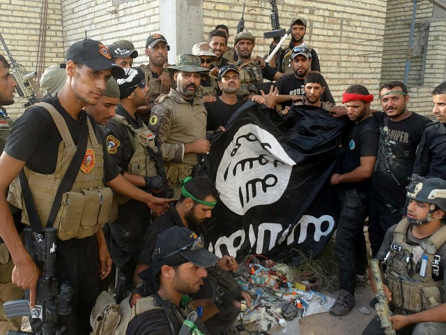 Iraqi security forces backed by Shiite and Sunni pro-government fighters celebrate as they hold a flag of the Islamic State militant group they captured in Anbar University in Ramadi, Anbar province, Iraq, Sunday, July 26, 2015. Iraqi government forces recaptured Anbar University from the Islamic State militant group Sunday after …