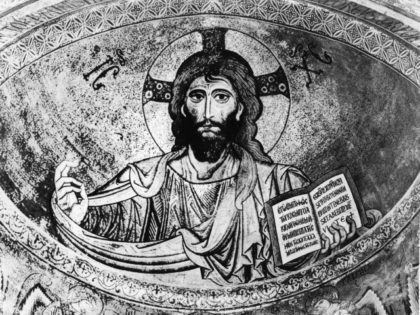 circa 1900: A mosaic of Christ from the Cathedral in Il Salvatore, Cefalm, Sicily. (Photo by Hulton Archive/Getty Images)