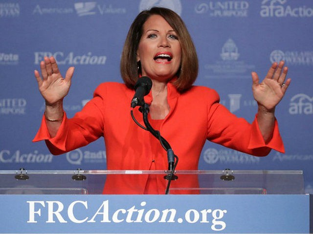 UNITED STATES, Washington : WASHINGTON, DC - SEPTEMBER 09: Former U.S. member of congress Michele Bachmann (R-N) addresses the Values Voter Summit at the Omni Shoreham September 9, 2016 in Washington, DC. Hosted by the Family Research Council, the summit is an annual gathering of social and political conservatives. During the summit's 2015 presidential straw poll, Republican presidential candidate Donald Trump placed fifth with only 5% of the vote. Chip Somodevilla/Getty Images/AFP