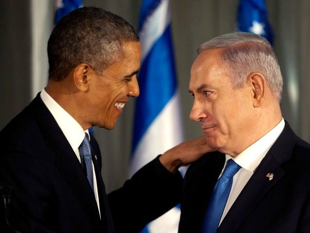 JERUSALEM , ISRAEL- MARCH 20: U.S. President Barack Obama (L) greets Israeli Prime Minister Benjamin Netanyahu during a press conference on March 20, 2013 in Jerusalem, Israel. This is Obama's first visit as President to the region, and his itinerary will include meetings with the Palestinian and Israeli leaders as …