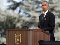 US President Barack Obama delivers a speech during the funeral of former Israeli president and Nobel Peace Prize winner Shimon Peres at Jerusalem's Mount Herzl national cemetery on September 30, 2016. World leaders including US President Barack Obama and Prince Charles were bidding farewell to Peres as his funeral began …