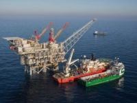 MEDITERRANEAN SEA, ISRAEL - FEBRUARY 2013: In this handout image provided by Albatross, The Tamar drilling natural gas production platform is seen some 25 kilometers West of the Ashkelon shore in February 2013 in Israel. (Photo Photo by Albatross via Getty Images)