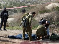 An injured Palestinian suspected attacker is treated by Israeli medic soldiers after he was shot following a stabbing attack on January 18, 2016 in the Tekoa settlement, south of Jerusalem. A Palestinian, who stabbed a pregnant woman, was shot by security personnel, the Israeli army and medics said, in the …