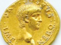 The gold coin bearing the image of Roman Emperor Nero discovered on Mount Zion. (photo credit: UNC CHARLOTTE)