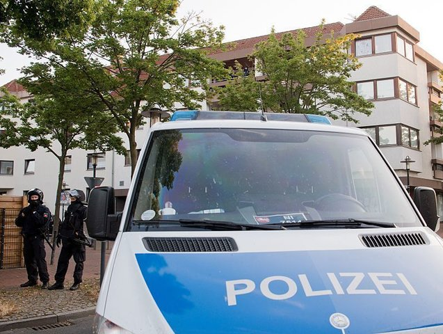 A police car is pictured in front of a mosque on July 27, 2016 in Hildesheim. Police had searched a mosque and houses of eight memebrs of 'German speaking Islamic circle of Hildesheim. / AFP / dpa / Julian Stratenschulte / Germany OUT (Photo credit should read JULIAN STRATENSCHULTE/AFP/Getty Images)