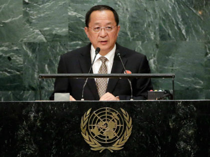 North Korea's Foreign Minister Ri Yong Ho addresses the 71st session of the United Nations General Assembly, at U.N. headquarters, Friday, Sept. 23, 2016. (AP Photo/Richard Drew)