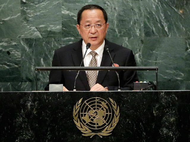 North Korea's Foreign Minister Ri Yong Ho addresses the 71st session of the United Nations General Assembly at U.N. headquarters Friday Sept. 23 2016
