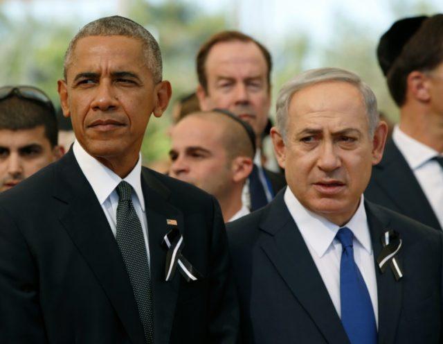 US President Barack Obama (left) stands alongside Israeli Prime Minister Benjamin Netanyahu during the funeral of former Israeli president Shimon Peres in Jerusalem on September 30, 2016