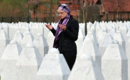 A Bosnian Muslim woman at Potocari memorial cemetery near Srebrenica where 8,000 Muslim men and boys were killed in 1995