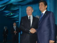 Russian President Vladimir Putin (C) shakes hands with Japanese Prime Minister Shinzo Abe as they visit an oceanarium on Russky Island near Vladivostok, on September 3, 2016