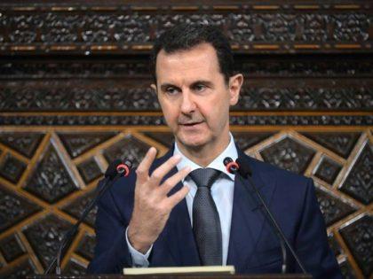 Syrian President Bashar al-Assad addressing the new parliament in Damascus