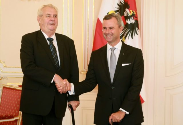 Austrian presidential candidate Norbert Hofer (R) said he woudl like teh Visegrad group to also include Austria after meeting with Czech President Milos Zeman (L)