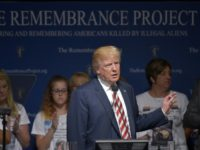 Republican presidential nominee Donald Trump speaks at The Remembrance Project luncheon in Houston, Texas, on September 17, 2016