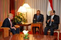 Republican presidential candidate Donald Trump (L) looks meets with Egyptian President Abdel Fattah el-Sisi at the Plaza Hotel on September 19, 2016 in New York