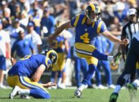 Greg Zuerlein of the Los Angeles Rams kicks a field goal out of a hold by teammate Johnny Hekker to make it 9-3 in the fourth quarter during their NFL game against the Seattle Seahawks, at Los Angeles Coliseum, on September 18, 2016