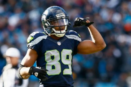 Doug Baldwin #89 of the Seattle Seahawks reacts during the NFC Divisional Playoff Game against the Carolina Panthers at Bank of America Stadium