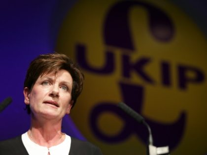 New leader of the anti-EU UK Independence Party (UKIP) Diane James gives an address at the UKIP Autumn Conference in Bournemouth, on the southern coast of England, on September 16, 2016