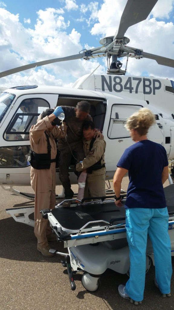 Immigrant airlifted to hospital after being stabilized in the desert. (Photo: U.S. Customs and Border Protection)