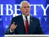 Republican vice-presidential candidate, Indiana Gov. Mike Pence, gestures as he gives a speech at Liberty University in Lynchburg, Va., Wednesday, Oct. 12, 2016. (AP Photo/Steve Helber)