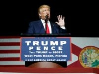 Republican presidential candidate Donald Trump speaks during a campaign rally at the South Florida Fairgrounds and Convention Center, Thursday, Oct. 13, 2016, in West Palm Beach, Fla. (