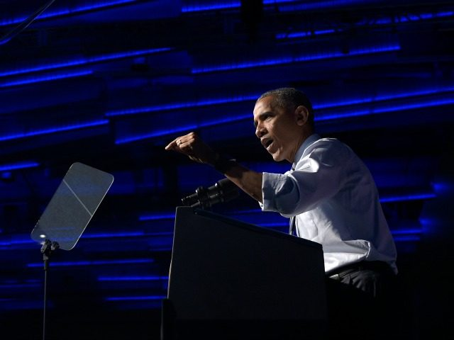 President Barack Obama speaks at a campaign event for the Ohio Democratic Party and for the Senate bid for former Ohio Gov. Ted Strickland at the Greater Columbus Convention Center in Columbus, Ohio, Thursday, Oct. 13, 2016.