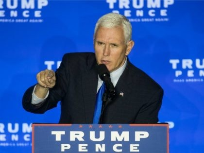Republican vice presidential candidate Indiana Gov. Mike Pence speaks during a campaign rally, Monday, Oct. 17, 2016, in Mason, Ohio. (