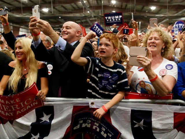 Supporters of Republican presidential candidate Donald Trump cheer during a campaign rally, Friday, Oct. 21, 2016, in Newtown, Pa. (AP Photo/ Evan Vucci)