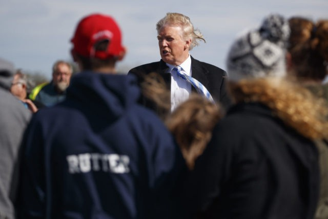 Republican presidential candidate Donald Trump talks with visitors as he tours Gettysburg National Military Park, Saturday, Oct. 22, 2016, in Gettysburg, Pa. (AP Photo/ Evan Vucci)