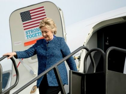 Democratic presidential candidate Hillary Clinton arrives at Eastern Iowa Airport in Cedar Rapids, Iowa, Friday, Oct. 28, 2016,