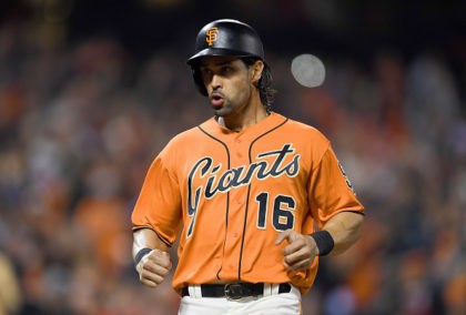 SAN FRANCISCO, CA - SEPTEMBER 16: Angel Pagan #16 of the San Francisco Giants scores against the St. Louis Cardinals in the bottom of the third inning at AT&T Park on September 16, 2016 in San Francisco, California. (Photo by Thearon W. Henderson/Getty Images)