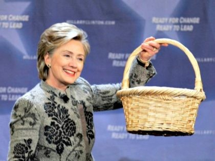Democratic presidential hopeful, Sen. Hillary Rodham Clinton, D-N.Y., holds up a basket of questions during a talk with billionaire investor Warren Buffett, at a campaign stop in San Francisco, Tuesday, Dec. 11, 2007. (AP Photo/Paul Sakuma)