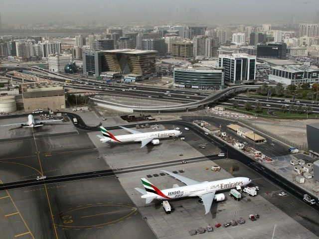An aerial view shows Dubai international airport, home to the national carrier Emirates Airways, on May 27, 2012. AFP PHOTO/KARIM SAHIB (Photo credit should read KARIM SAHIB/AFP/GettyImages)