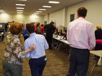 More than 50 voting machines filled this location in West Harris County. Voter lines still reached up to an hour. Additional registration equipment was added later in day to reduce wait-times. (Photo: Bob Price/Breitbart Texas)