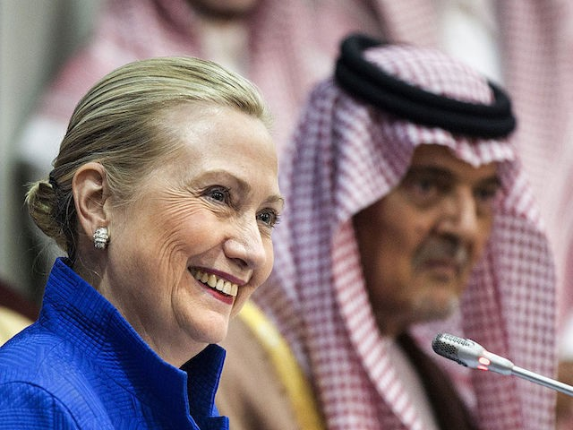 US Secretary of State Hillary Clinton smiles during a joint press conference with Saudi Foreign Minister Prince Saud al-Faisal following a US-Gulf Cooperation Council forum at the GCC secretariat in Riyadh on March 31, 2012. Clinton geared up for talks in Saudi Arabia about plans for a Gulf missile shield …