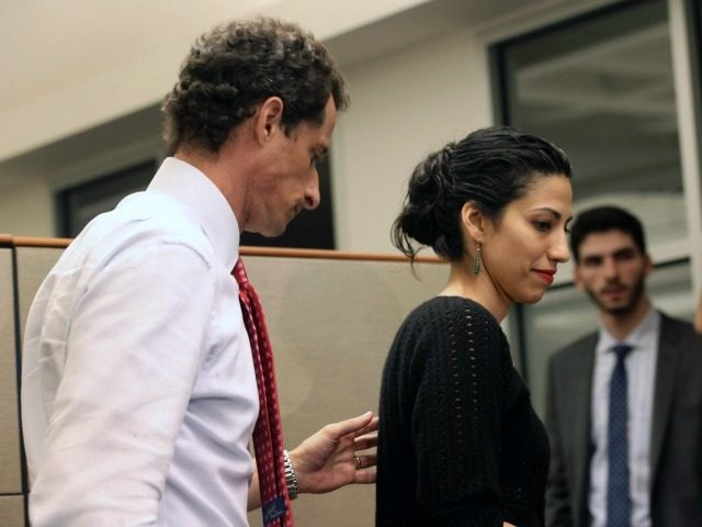 Anthony Weiner with his wife Huma Abedin on July 23, 2013 in New York City.
