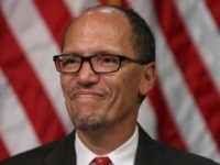 Labor Secretary Thomas Perez attends his ceremonial swearing-in at the Department of Labor September 4, 2013 in Washington, DC. Perez was officially sworn in July 23, 2013. Perez served as the Assistant Attorney General for the Civil Rights Division of the Department of Justice before being tapped by President Barack …