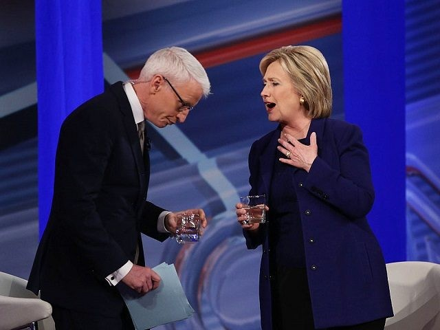 DERRY, NH - FEBRUARY 03: Democratic Presidential candidates Hillary Clinton stands with CNN anchor Anderson Cooper during a CNN and the New Hampshire Democratic Party hosted Democratic Presidential Town Hall at the Derry Opera House on February 3, 2016 in Derry, New Hampshire. Democratic and Republican Presidential are stumping for …