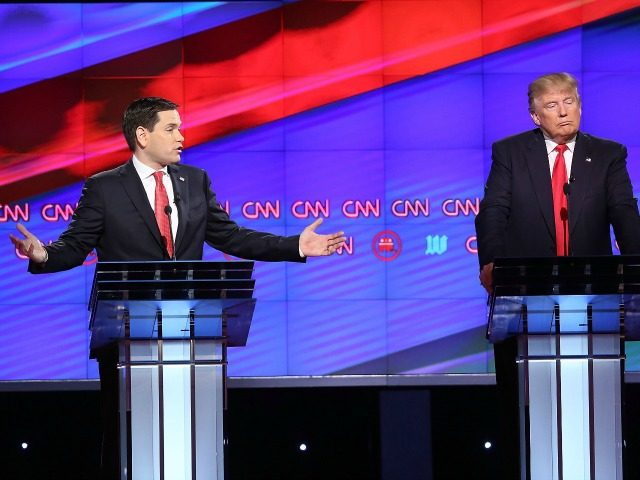 Republican presidential candidates, Sen. Marco Rubio (R-FL) and Donald Trump are seen during the CNN, Salem Media Group, The Washington Times Republican Presidential Primary Debate on the campus of the University of Miami on March 10, 2016 in Coral Gables, Florida. The candidates continue to campaign before the March 15th …
