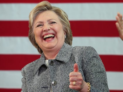 HARTFORD, CT - APRIL 21: Democratic presidential candidate former Secretary of State Hillary Clinton laughs during the Hartford Gun Violence Prevention Discussion on April 21, 2016 in Hartford, Connecticut. Hillary Clinton held a panel discussion with families of victims of gun violence as she campaigned in Connecticut ahead of Tuesday's …