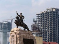 A picture taken on July 28, 2016 shows the statue of Damdin Sukhbaatar, the leader of Mongolia's 1921 revolution, in Ulan Bator. / AFP / JOEL SAGET (Photo credit should read JOEL SAGET/AFP/Getty Images)