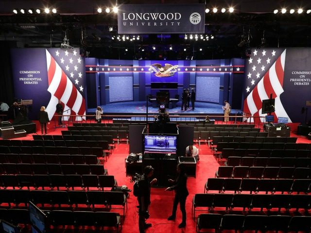 Willett Hall before the vice presidential debate at Longwood University October 4, 2016 in Farmville, Virginia.