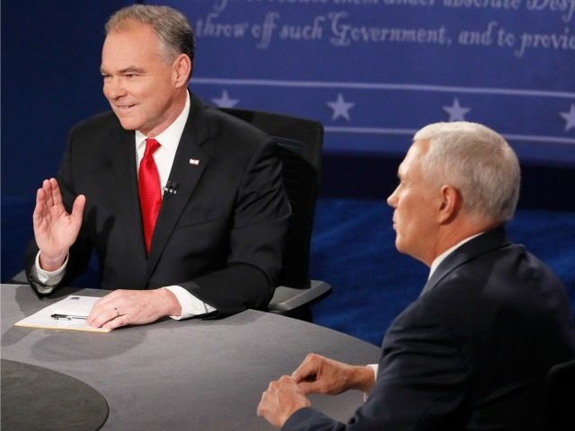 Democratic vice presidential nominee Tim Kaine (L) and Republican vice presidential nominee Mike Pence (R) speak during the Vice Presidential Debate at Longwood University on October 4, 2016 in Farmville, Virginia. This is the second of four debates during the presidential election season and the only debate between the vice …