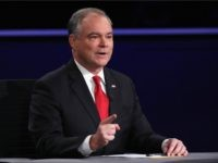 : Democratic vice presidential nominee Tim Kaine speaks during the Vice Presidential Debate with Republican vice presidential nominee Mike Pence at Longwood University on October 4, 2016 in Farmville, Virginia.