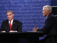 Democratic vice presidential nominee Tim Kaine (L) and Republican vice presidential nominee Mike Pence (R) debate during the Vice Presidential Debate at Longwood University on October 4, 2016 in Farmville, Virginia. This is the second of four debates during the presidential election season and the only debate between the vice …