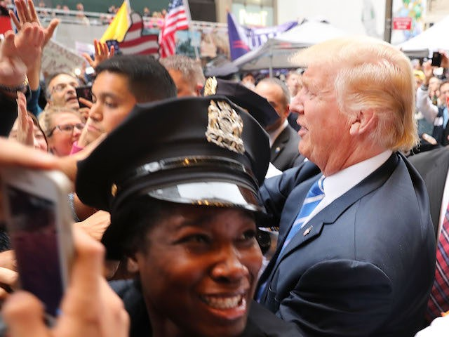 NEW YORK, NY - OCTOBER 08: Donald Trump greets supporters outside of Trump Towers in Manhattan October 8, 2016 in New York City. The Donald Trump campaign has faced numerous calls for him to step aside after a recording from 2005 revealed lewd comments Trump made about women. (Photo by …