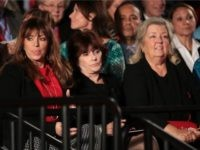 Paula Jones, Kathleen Willey and Juanita Broaddrick watch the town hall debate at Washington University on October 9, 2016 in St Louis, Missouri. This is the second of three presidential debates scheduled prior to the November 8th election. (Photo by )