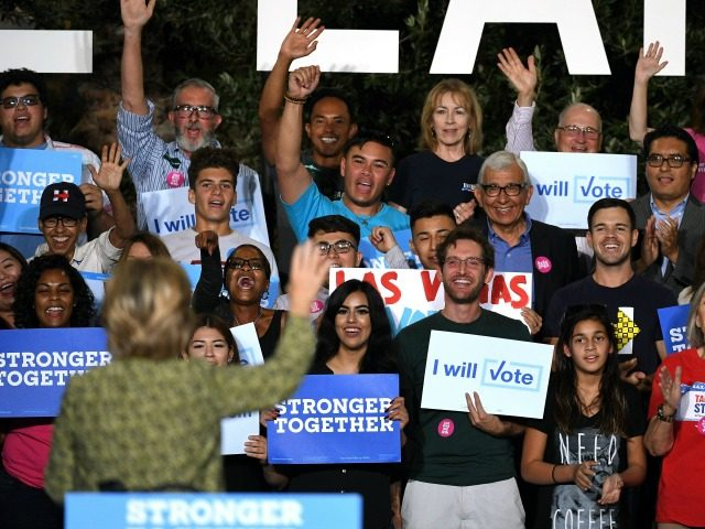 Hillary Clinton at a campaign rally on October 12, 2016 in Las Vegas, Nevada.